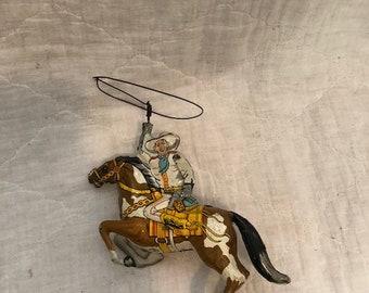 1930s Vintage Marx Ranger Rider Tin Lintho Wind Up Toy Cowboy Western Horse