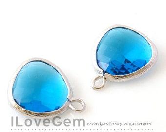 P1750 Rhodium plated, Capri Blue, Glass fancy rosecut 12.5mm, Glass pendant, Framed glass, 2pcs