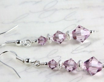 Swarovski Crystal Dangle Earrings, Light Amethyst, Sterling Silver, Bridal, Wedding