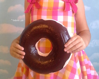 GIANT Faux Donut Fake Doughnut  WALL Art Plaque Dark Chocolate DECOR Cake Kitchen Display Cafe Bakery 3D