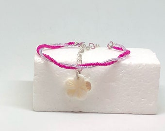 Pink petals and iridescent light purple polished floral accent carved stone adjustable chain seed bead anklet
