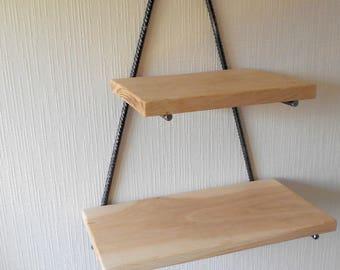 Shelf industrial style steel and wood (oak)
