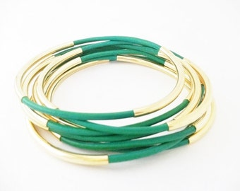 Emerald Green Leather Bangle Bracelets with Double Gold or Silver Tube Accents, Tube Bangles, Tube Bracelets, Stacking Bracelets, Girl Gift