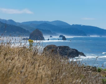 From the Cliffs of Ecola State Park in the Great Pacific Northwest.  Oregon Coastal Photography.  Haystack Rock and Cannon Beach. Wild beach