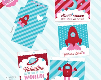 Out of this World Valentine Printable Valentine Cards & Envelopes - Outer Space