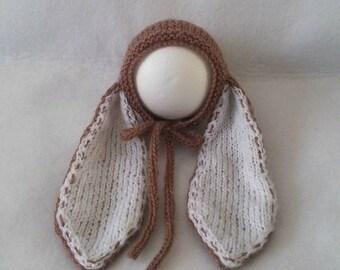 Baby knit mohair bonnet bunny long ears in mocha, hat for newborn, Easter photo prop