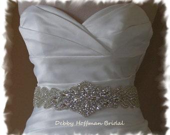 Bridal Sash, Rhinestone Crystal Wedding Dress Sash, Jeweled Bridal Sash, Crystal Wedding Belt, Wide Rhinestone Bridal Belt, No. 5080S-3060