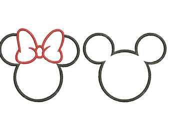 27 Sizes Mickey and Minnie Head Ears Mouse Monogram Frame Girl Bow Applique Design Embroidery Machine Instant Download EN2205E1_EN2163E4