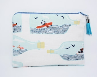 Wallet / clutch in cotton on the theme of the sea! Original