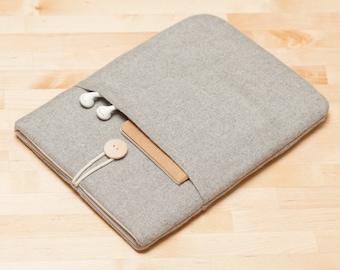 iPad sleeve, iPad Pro 10.5 case, iPad Pro 9.7 case, iPad Pro sleeve, plain  - Flannel nordic grey