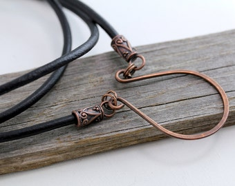 Boho Copper Eyeglass Holder, Leather Lanyard, eyeglass chain, eyeglass holders, glasses chain, lanyard, eyeglass necklace, Gifts for Her