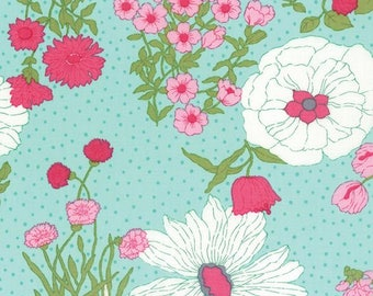 Color Me Happy Flower Garden in Teal Yardage - 10820-13 - V and Co - Moda