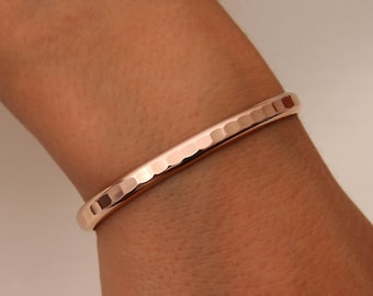 Thick Hammered Cuff Bracelet, 14K Rose Gold Filled (352.rgf)