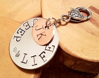 MADE TO ORDER aluminum and copper Destination Oval hand stamped Jeep keyfob ... super gift idea for the Jeepaholic!