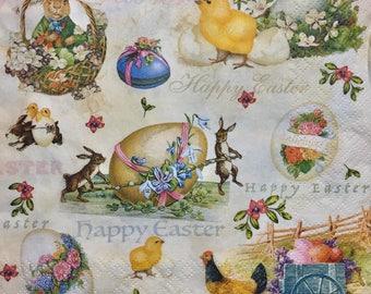 "3 Decoupage Napkins - Vintage Easter Bunny Chicks Easter Eggs, 13"" x 13"""