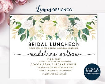 Bridal Luncheon Invitation, Floral Bridal Shower Invite, Wedding Luncheon, Editable Template, White Gold Floral Invitation, Bridal Brunch