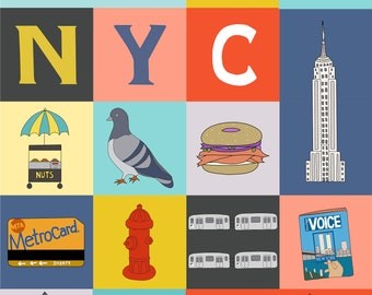 My NYC Print, Fine Art Print by Kate Durkin, Nursery Alphabet Art