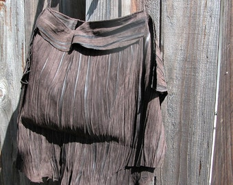 Brown Suede Natural Edge Leather Bag