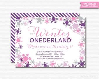Printable Girls Winter Onderland Birthday Invitation Purple Pink Snowflakes Digital Invite 1st First Birthday