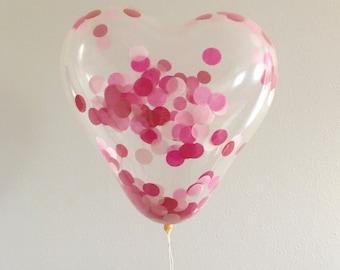 Heart Confetti Balloon / 16 inch pre filled confetti party balloon / multi colored confetti / birthday balloon / gender reveal / valentines