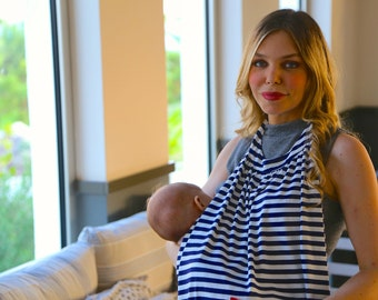 Best Selling Breastfeeding Cover (Nursing Cover) in Navy & Ivory Stripes - A Wonderful Pregnancy Gift, New Mom Gift or Baby Shower Gift