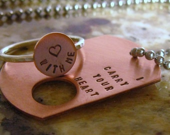 I carry your heart. Copper dog tag and sterling silver ring (intertwine)