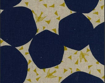 Kokka Fabric Linen Canvas - Japanese Fabric - Echino 2018 Bubbles in Navy - Cotton Canvas Fabric - Half Yard (about 50cm) Pre Cut