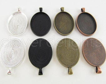 30 Pendant Trays 22x30mm - Vintage Style Oval Trays - Antique Bronze Copper Silver Black - Pendant Blanks Cameo Bezel Setting Mix 22 x 30 mm