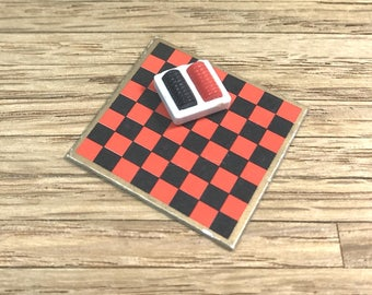 TOMY CHECKER GAME, 1970's, 1:18 Lundby Scale, Smaller Homes & Garden, Vintage Dollhouse Accessory