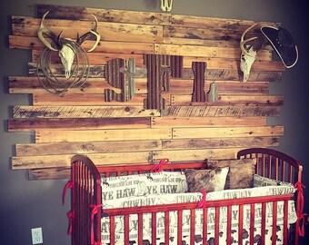 Cowboy Crib Bedding - Brown Cowboy, Pony Minky, and Red Chevron Crib Bedding Ensemble