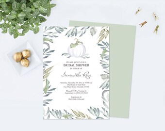 Gender Neutral FALL BABY SHOWER Invitation, Pumpkin, Boho, Boy, Girl, Watercolor White Pumpkin Invitation, Greenery, Editable pdf Template