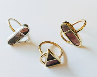 Handmade mixed metal statement rings. Brass ring, sterling silver ring, copper ring, patina ring.