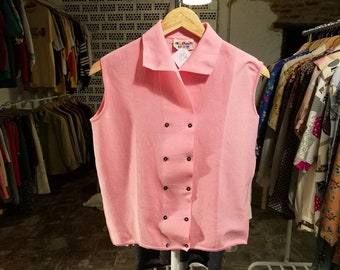 Vintage POLO shirt//vintage clothing/Women's gift/knit/1960s/pink/knitwear/vintage knit/60s/50s/vintage Woman