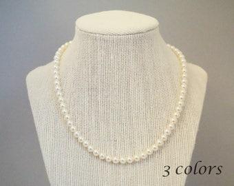 Swarovski Pearl Necklace, Pearl Necklace, Swarovski Necklace, Single Strand Pearl Necklace, N07