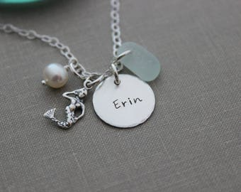 sterling silver mermaid charm necklace - custom name disc - genuine sea glass personalized hand stamped - beach ocean jewelry - White pearl