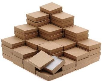 New Kraft Cotton Filled Jewelry Gift Boxes 3 1/2 x 3 1/2 x 1  -  5  10  25  50 100  200  500 Pcs