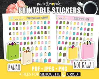 Printable Stickers Shopping Bag Stickers Shopping trip printable stickers Gift Bag Stickers Boutique kawaii stickers for EC filofax PR-118