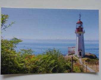 Sheringham Point Lighthouse postcard by Nastazja Maria Photography, Shirley, British Columbia, Canada, Art, Prints, Card, Nautical, Beacon
