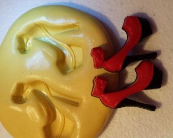 Miniature Heels Flexible Silicone Mold- for polymer clay, wax, sugar, etc.