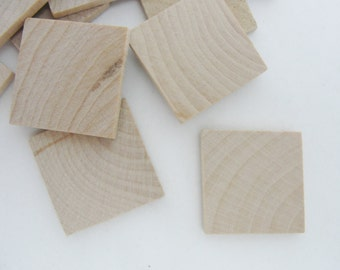 "Wooden tiles, wooden squares, 1 inch (1"") square, 1/8"" thick, set of 12"