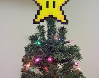 ORIGINAL Mario Bros. Perler Bead Star Christmas Tree Topper - december trends - gifts - trending - small business saturday