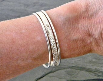 Silver Cuff Bracelets - Sterling Silver Stacking Bangles - Stacking Bracelets - Gift for Her - Open Bangle Bracelet - Silver Bracelet Cuff