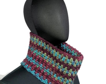 Blue Purple Crochet Chunky Cowl: Scarf, Chunky Knit, Gift for Her, Knit Cow,l Neck Warmer, Super Chunky Scarf, Eternity Scarf, Crochet Cowl