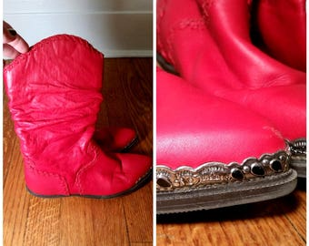 red cowgirl boots red leather boots red cowboy boots red western boots vintage cowboy boots with decorative toe womens 6 1/2