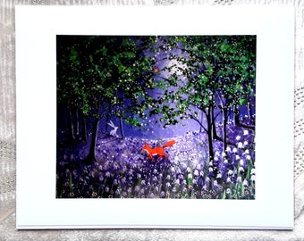 Midnight in the bluebell wood 10 x 8 Giclee Print