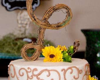 Letter L Twig Topper, L Cursive Grapevine Topper, Rustic Cursive Cake Topper, Rustic Wedding Cake Topper, Natural, Handmade Cake Top