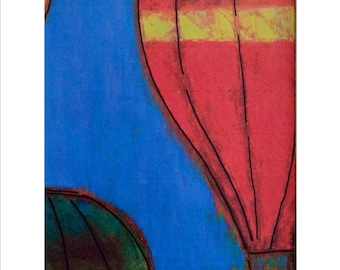 Hot air balloon art prints in primary colors.