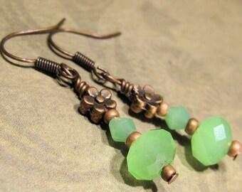 Dainty Copper & Green Crystal Flower Victorian Earrings - Dangle - Downton Abbey Inspired - Great Gatsby