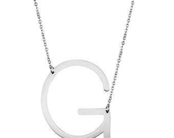Silver Tone/Rose Gold Plated Stainless Steel Necklace, Personalize Necklace, Letter G