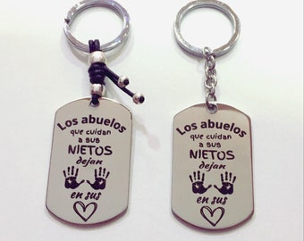 Personalized steel and leather keychain or hanger with special message The grandparents who take care of their grandchildren leave their mark on their hearts